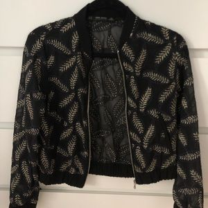 Zara embroidered bomber jacket